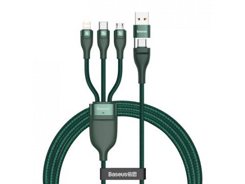 BASEUS KABLEC USB TYPE-C MICRO + LIGHTNING 8-PIN + TYPE-C 100W GREEN