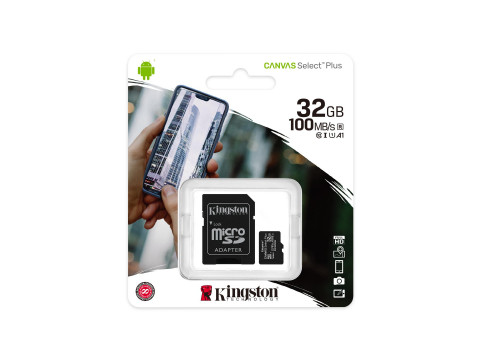 KINGSTON MICROSD 32GB CLASS10 CANVAS SELECT PLUS 100 MB/s + ADAPTER