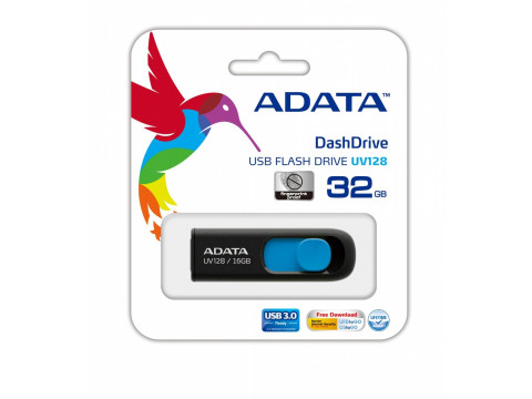 ADATA DASHDRIVE UV128 32GB USB3.0 Black-Blue 40MB / 25MB