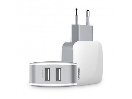 BASEUS WALL CHARGER LETOUR 2X USB WHITE-GRAY