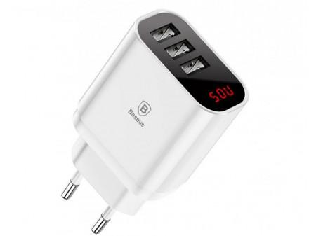 BASEUS WALL CHARGER MIRROR LAKE 3.4A 3 USB WHITE