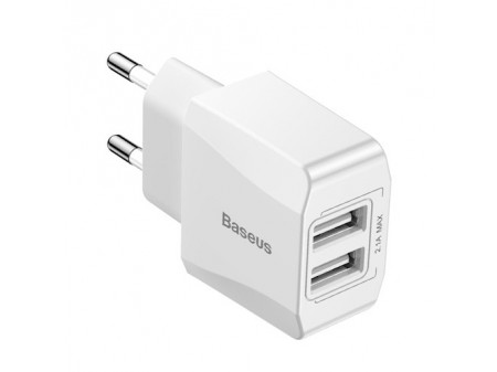 BASEUS WALL CHARGER MINI DUAL-U 2 x USB 2.1A WHITE