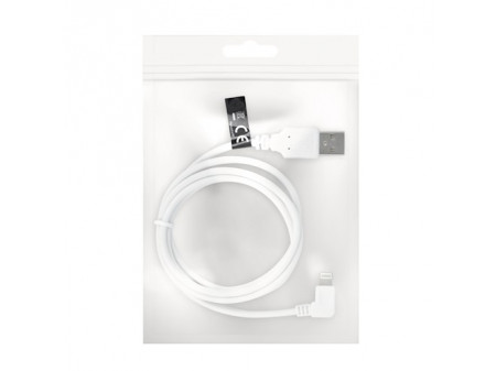 FOREVER USB 8-PIN ANGLE KABEL ZA IPHONE 1A WHITE