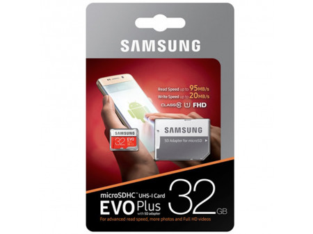 SAMSUNG MICRO SD MEMORIJA 32GB SAMSUNG EVO PLUS, CL10 + ADAPT SD