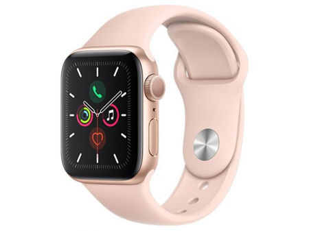 APPLE SMARTWATCH SERIES 5 GPS 44MM GOLD ALUMINIUM CASE WITH PINK SPORT BAND