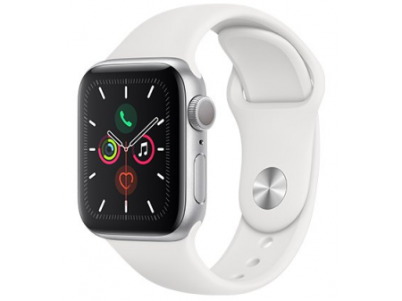 APPLE SMARTWATCH SERIES 5 GPS 44MM SILVER ALUMINIUM CASE WITH WHITE SPORT BAND