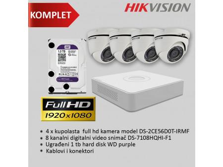 HIKVISION KOMPLET 2MP SA 4 DOME KAMERE