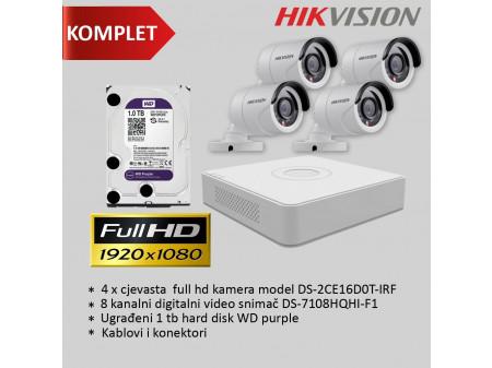 HIKVISION KOMPLET 2MP SA 4 BULLET KAMERE