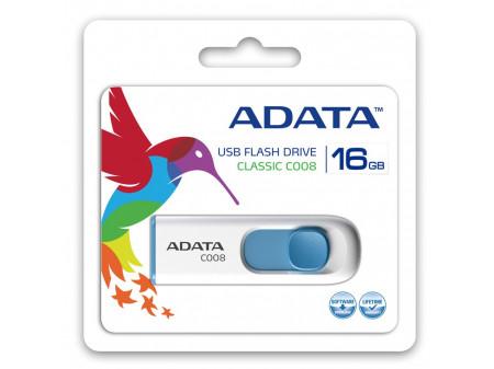 ADATA USB MEMORIJA 2.0 CLASSIC C008 16GB WHITE-BLUE