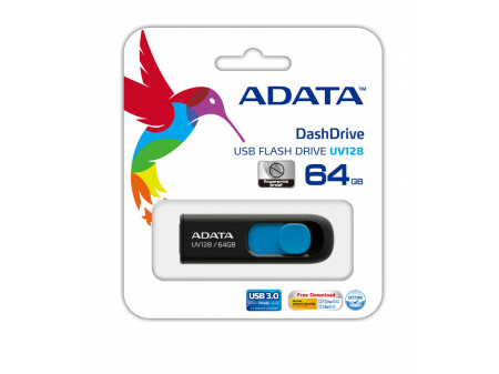 ADATA DASHDRIVE UV128 64GB USB3.0 Black-Blue 90MB / 40MB
