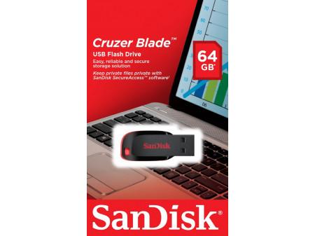 SANDISK USB 2.0 MEMORIJA CRUZER BLADE 64GB BLACK/RED