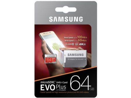 SAMSUNG MEMORIJSKA KARTICA MICRO SD 64GB EVO PLUS CL10 + ADAPT SD