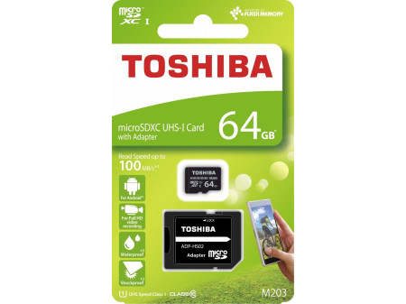 TOSHIBA MICROSD 64GB M203 UHS-I U1 ADAPTER