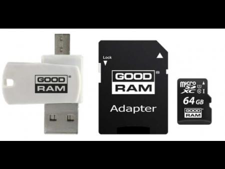 GOODRAM ČITAČ KARTICA microSDHC 64GB CL10 + adapter + card reader