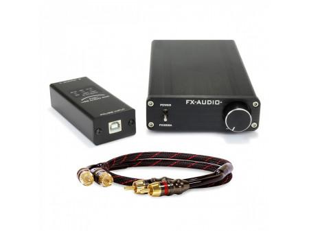 FX-AUDIO FX1002A 2x125W POJAČALO 4Ohm & FX-AUDIO FX01 USB DAC & DYNAVOX RCA KABEL SET